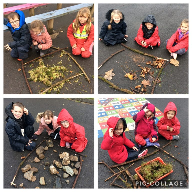 """P1/2 making story scenes for """"Going on a Bear Hunt""""."""